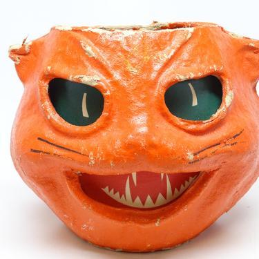 Antique 1940's Orange Cat Head Lantern, made with Pulp Paper Mache, Vintage Halloween Decor by exploremag