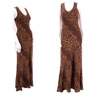 90s BETSEY JOHNSON slip Dress S / leopard print bias cut gown / vintage 1990s designer maxi small by ritualvintage