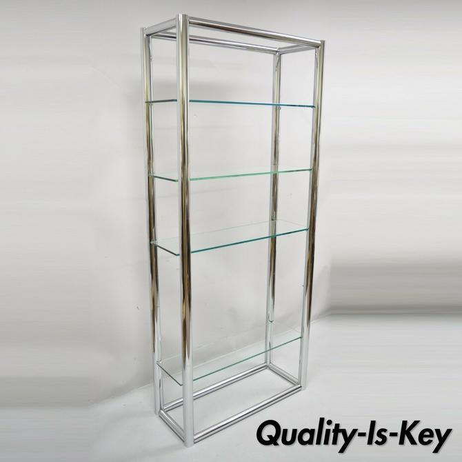 Mid Century Modern Tubular Chrome Etagere Bookcase Glass Shelf Baughman Style
