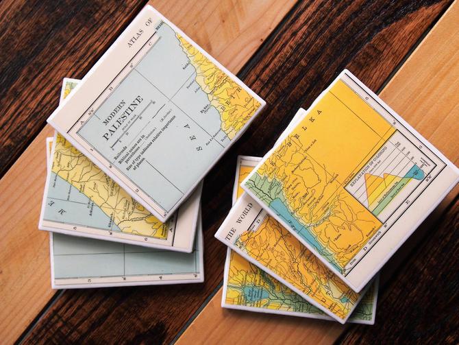1909 Palestine Handmade Repurposed Vintage Elevation Map Coasters - Set of 6 - Ceramic Tile - Repurposed 1900s Hammond Atlas - Antique by allmappedout