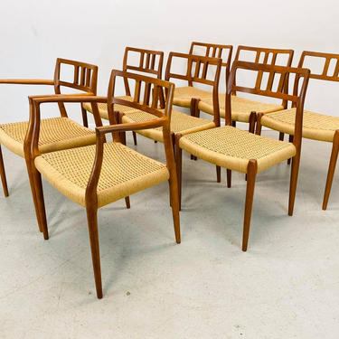 mid century Danish modern teak J.L. Moller model #79 #64 dining chairs by AtomicJunkiesGallery