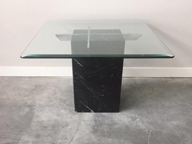 vintage black marble side table.