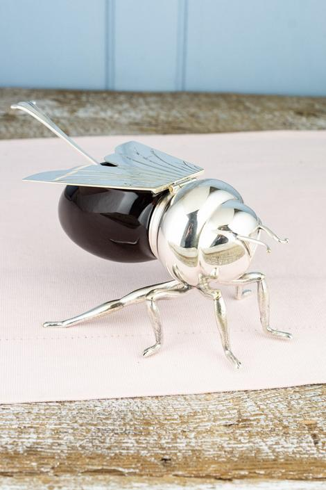 Vintage Silverplate and Glass Honey Bee Honey Pot