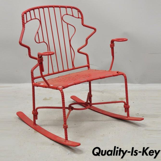 Mid Century Children's Iron Small Childs Alphabet Red Rocking Chair Rocker