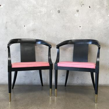 Pair of 1950's Black Ebonized Chairs with Original Silk Seat Cushions