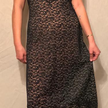 1940s Black Lace Slip w/Chiffon Lining    Metal Side Zipper    Adjustable Straps    Slip Dress    Bodice Detail    Size L by CelosaVintage