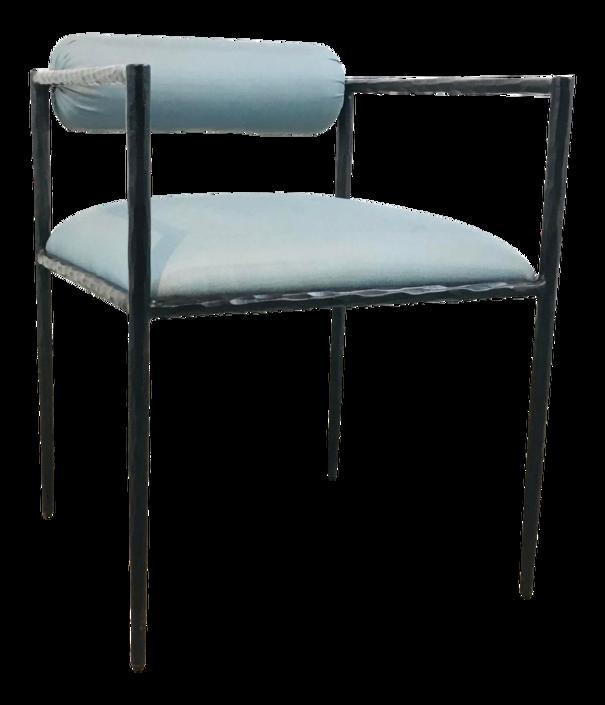 Arteriors Modern Blue Silk and Textured Iron Barbana Accent Chair