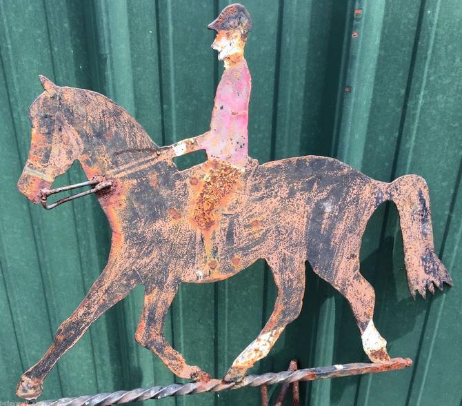 Primitive Horse & Rider Weathervane | Equestrian Art/Sculpture | Folk Art