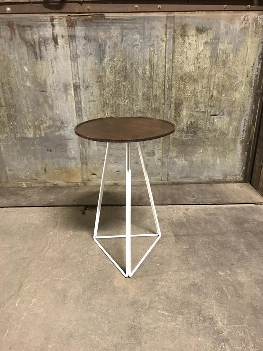 Walnut Side Table with Turned Top and Triangular Steel Base by PWHFurniture