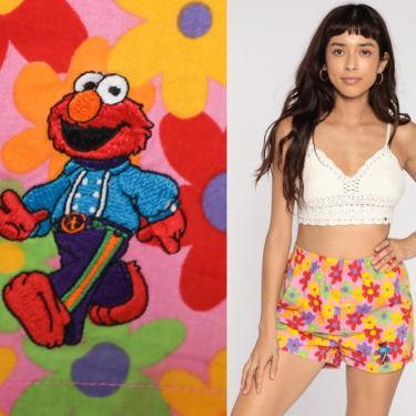 Sesame Street Boxer Shorts Elmo Underwear Flower Power Shorts 80s Retro Pajama Shorts Pink Vintage Elastic Waist Small Medium by ShopExile