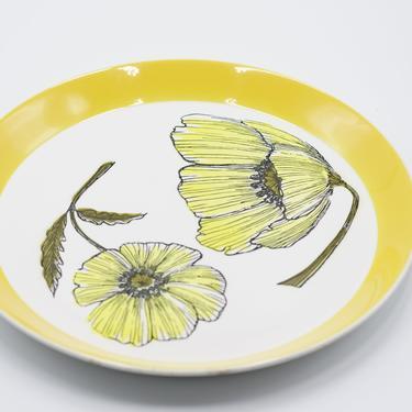 MIKASA Duplex Duet Yellow Serving Plate/ Platter Ben Seibel, Black, White, Flowers, Floral, Vintage, Retro, 70s Dinnerware, Pattern 2501 by TripodVintage