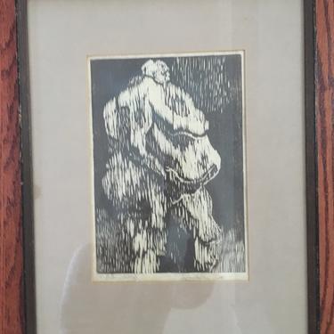 Vintage Woodcut Print Nude Figural Art Original Signed Framed Mid Century Art by PursuingVintage1