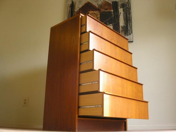Danish Modern Teak 5 Drawer TallBoy Dresser By Vitre of Denmark, Credenza, Mid-Century, Denmark, MCM) by RetroSquad