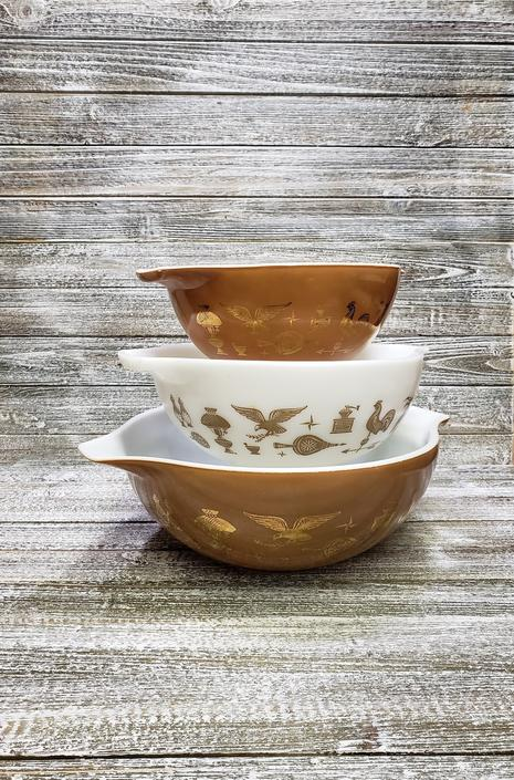 Vintage Pyrex Bowls, Early American Pyrex, Cinderella Milk Glass Bowls, Weathervane Pyrex Brown Gold & White Mixing Bowls, Vintage Kitchen by AGoGoVintage