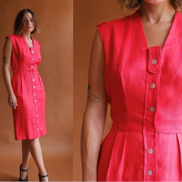 Vintage 50s Coral Linen Dress/ 1950s Button Up Sleeveless Sheath Dress with Pockets/ Size Small by bottleofbread