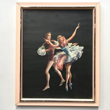 Vintage Ballet Art Print In Pale Pink Frame, Ballet Man And Woman Dancers, Black And Pink, Mid Century Modern, Shabby Chic by luckduck