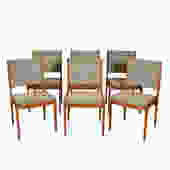 Set of 6 Danish Modern Teak Upholstered Dining Chairs