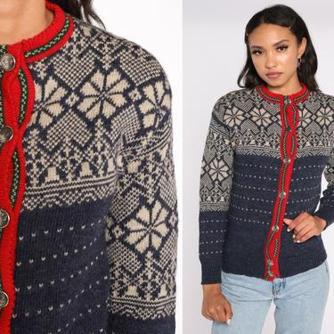 Norwegian Sweater FAIR ISLE Cardigan 90s Wool Sweater Boho Nordic Sweater Vintage Cambridge Dry Goods Snowflake Button Up Extra Small xs by ShopExile