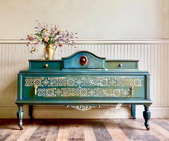 Vintage Metallic Green and Gold Moroccan style console. Vintage Lowboy.  Vintage Dresser. Eclectic Living Room Anthropologie Inspired. by HouseofAalia