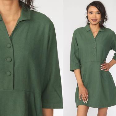 Green Mini Dress 70s High Waisted Dress Vtg Button Up Secretary Plain Dress 3/4 Sleeve Dress Collar Vintage Minidress Retro Large by ShopExile