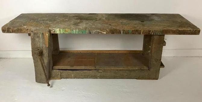 Antique French Workbench Table Kitchen Island Bar TV Stand