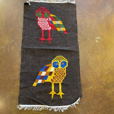 Vintage New Old Stock, South American Hand Crafted Textile Tapestry Wall Hanging, Owl Motif, Mid Century Modern Style by PrimaForme