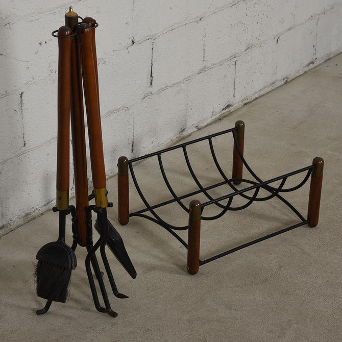 MCM Walnut Brass & Iron Fireplace Tools & Log Holder Set