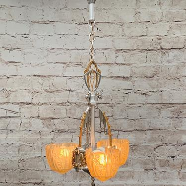 Polished Art Deco 3 Light by Lincoln, Amber Shades #1924 by vintagefilament