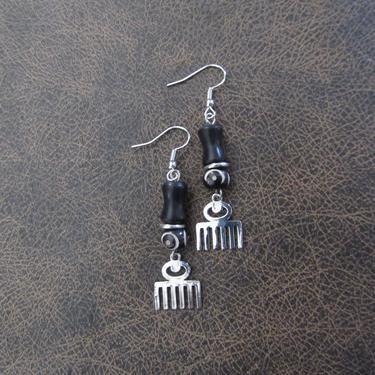 Afro pick earrings, adinkra symbol earrings, beauty earrings, bold statement earrings, Afrocentric earrings, comb earrings, silver earrings by Afrocasian