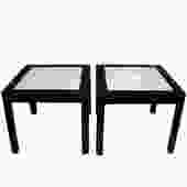 Karl Springer End Tables with Shagreen Tops 1980s - SOLD
