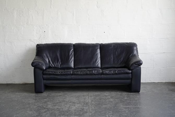 Ekornes Blue Leather Sofa