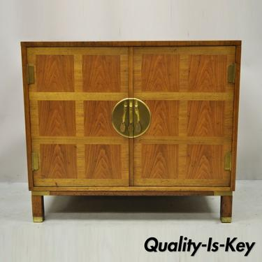 Baker Milling Road Banded Walnut Brass Campaign Style 4 Drawer Cabinet Chest