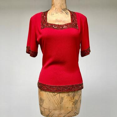"""Vintage 1940s Red Rayon Crepe Beaded Blouse, 40s Crimson Short Sleeve Cocktail Top, Medium 40"""" Bust by RanchQueenVintage"""