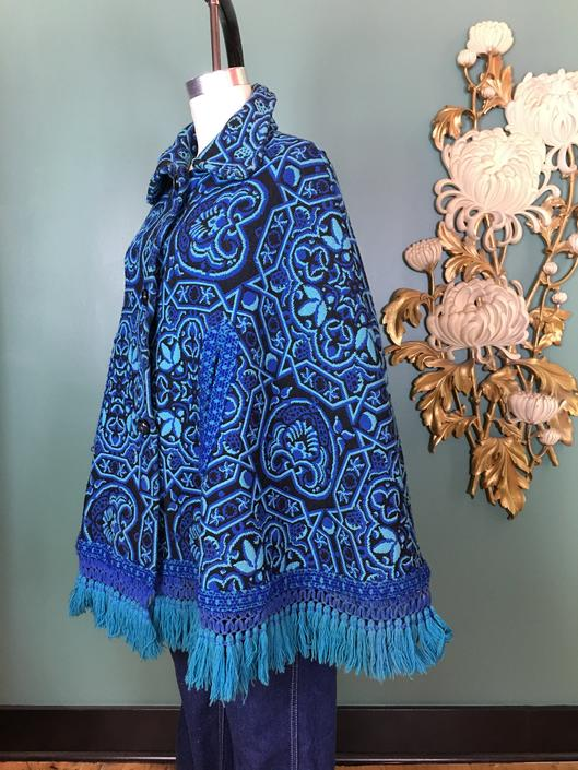1960s tapestry cape, vintage 60s cape, mod cape, bohemian cape, one size, cape with fringe, hippie style, navy and aqua, boho style, poncho by BlackLabelVintageWA