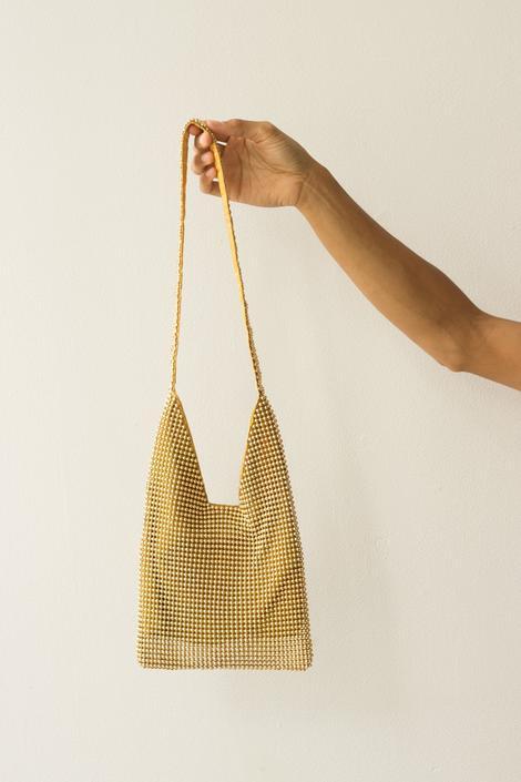 1980s Gold Ball Link Shoulder Bag by waywardcollection