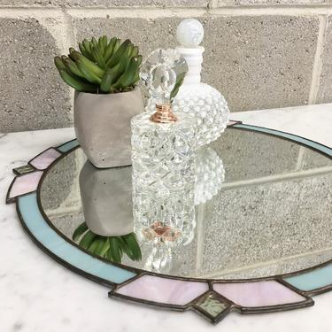Vintage Mirrored Tray Retro 1980s Stained Glass + Baby Blue and Lavender + Iridescent + Round + Wall Mirror + Vanity and Home Decor by RetrospectVintage215