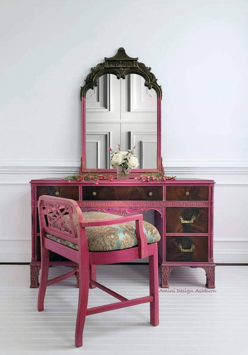 Available with FREE SHIPPING - Vanity, Desk, Makeup station, princess, Mirror, Chair - Pink, Blue, Brown, Girl, Painted Furniture, Vintage by AminiDesignAshburn