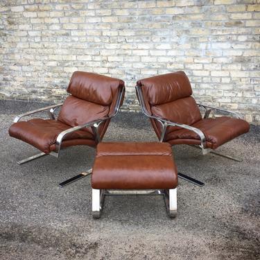 Italian Modern Flat Bar + Leather Chair-ottoman Set