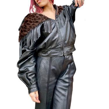 Carole Little 80's Fringe & Fur Leather Jacket by VintageRosemond