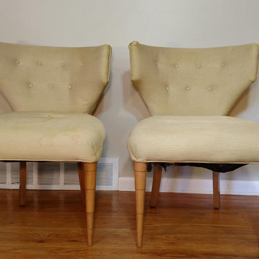 Mid Century Curved Back Pair of Side Chairs by ProRefineFurnishings