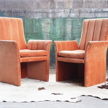 STUNNING SET of SIX 70's 80's Post Modern Channel Back Velour Parsons Upholstered Dining Lounge Chairs McM Kagan Springer Danish Modern by CatchMyDriftVintage