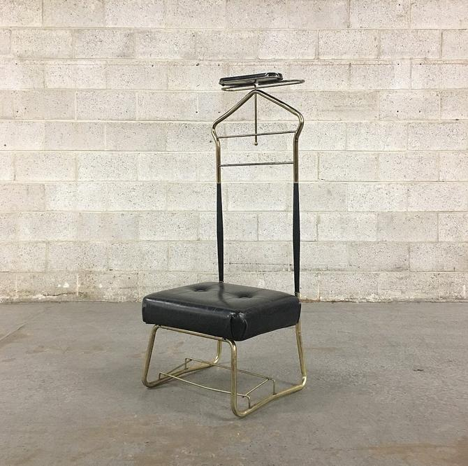 Vintage Butlers Chair Retro 1960s Pearl-Wick Valet Stand Mid Century Modern Gold Metal + Black Vinyl + Brown Wood + MCM Seating + Home Decor by RetrospectVintage215
