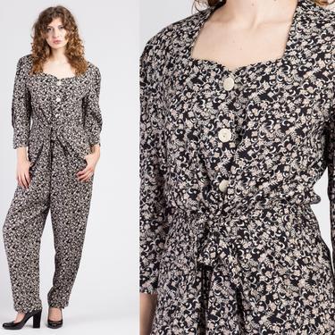 80s Grunge Floral Jumpsuit - Large | Vintage Button Up Tie Waist Pantsuit by FlyingAppleVintage
