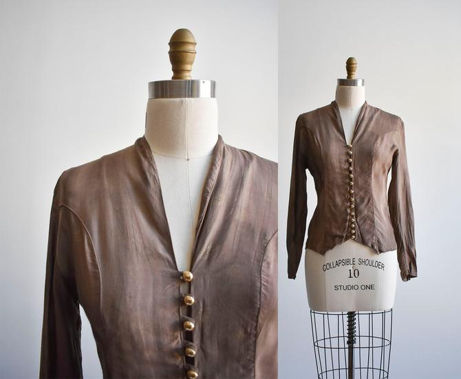 Vintage Brown Button Up Blouse by milkandice