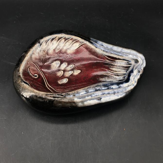 Vintage Fish Dish Mid-Century French Jouves Von Allesch Inspired solid Pottery Bowl Vessel Modernist by BrainWashington