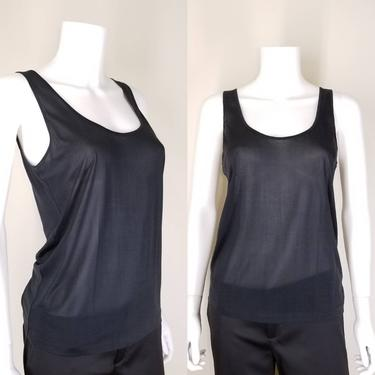 1990s Sheer Black Silk Tank Top, Medium ~ Pure Silk See Through Blouse ~ Stretchy Loose Mary Green Top by SoughtClothier