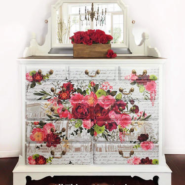 Vintage White Dresser | White Dresser with Mirror | White Chest of Drawers | White Bedroom Furniture | White Dresser with Red Flowers by AllThingsNewAgainVA
