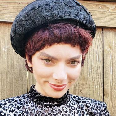 1960s Schiaparelli Hat Black Straw Disc Design /60s Mod Designer Hat Space Age Straw Italian Midcentury / Giuseppina by RareJuleVintage