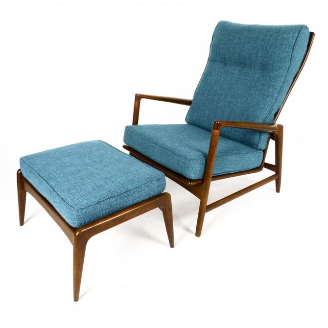 Ib Kofod Larsen Reclining Lounge Chair & Ottoman