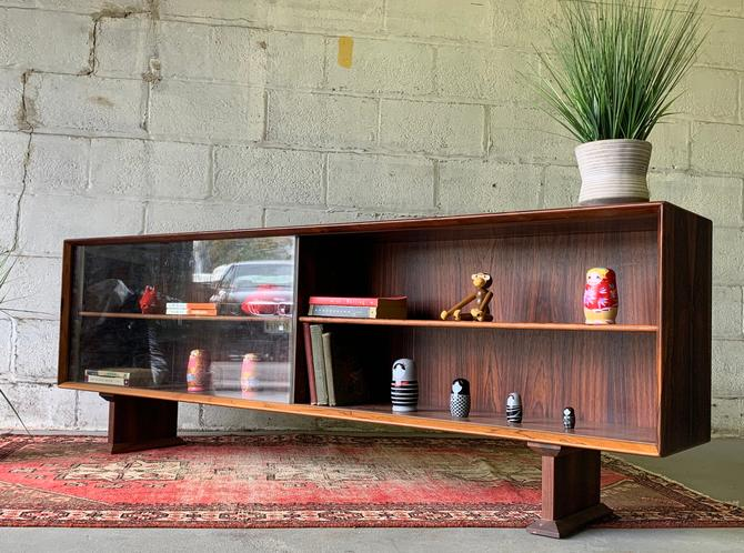 Long + Low Mid Century MODERN Danish ROSEWOOD BOOKCASE / credenza by CIRCA60